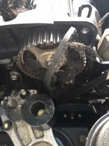 Shredded/ broken timing belt